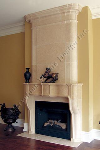 portuguese limestone fireplace