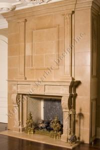 vintage limestone fireplace