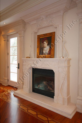 french limestone mantel