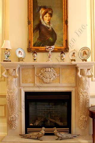 Custom marble fireplace mantel