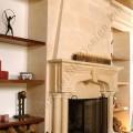 gothic limestone fireplace