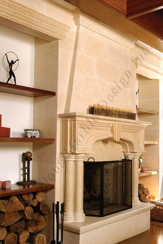 it is a magnificent Gothic limestone fireplace mantels surround with over mantel. this piece is the ultimate luxury for your custom built home in New York.