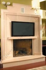 Limestone Modern Mantel With TV