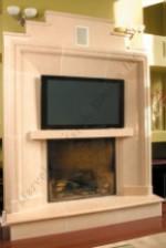 FRASER Custom Limestone Modern Mantel With TV
