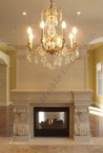 FLOWERED TOSCANA french limestone fireplace surround