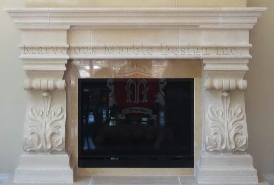 French Limestone Fireplace Surround In New Jersey