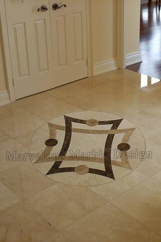 Simple Marble Medallions | Waterjet cut marble floor insert