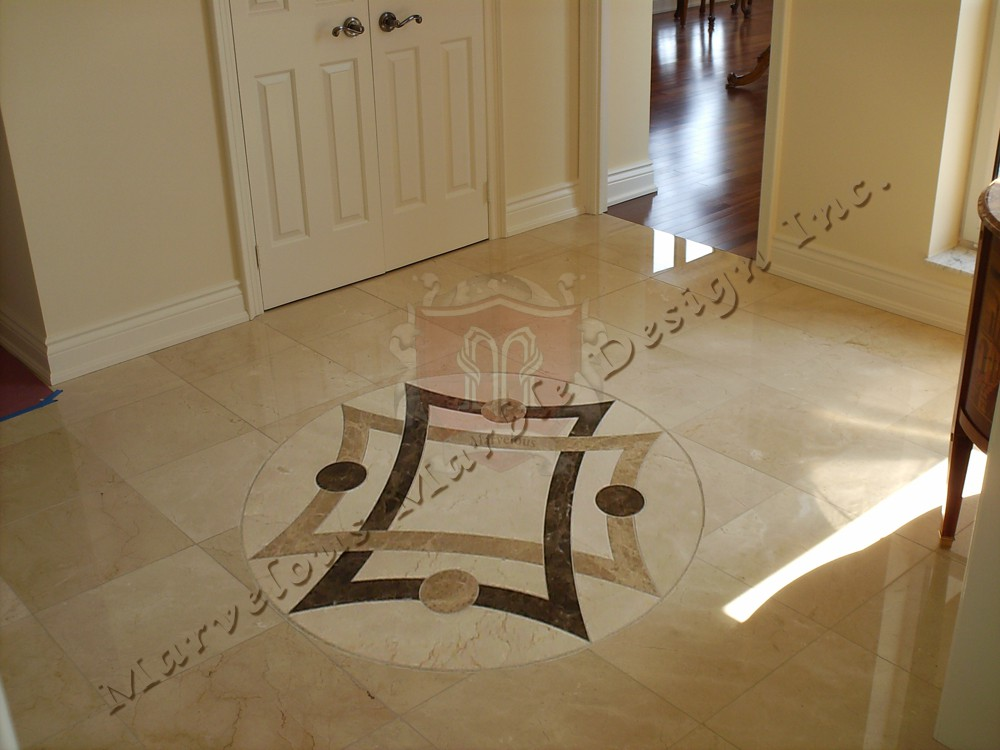 Simple marble medallions waterjet cut marble floor insert for Drawing room floor design