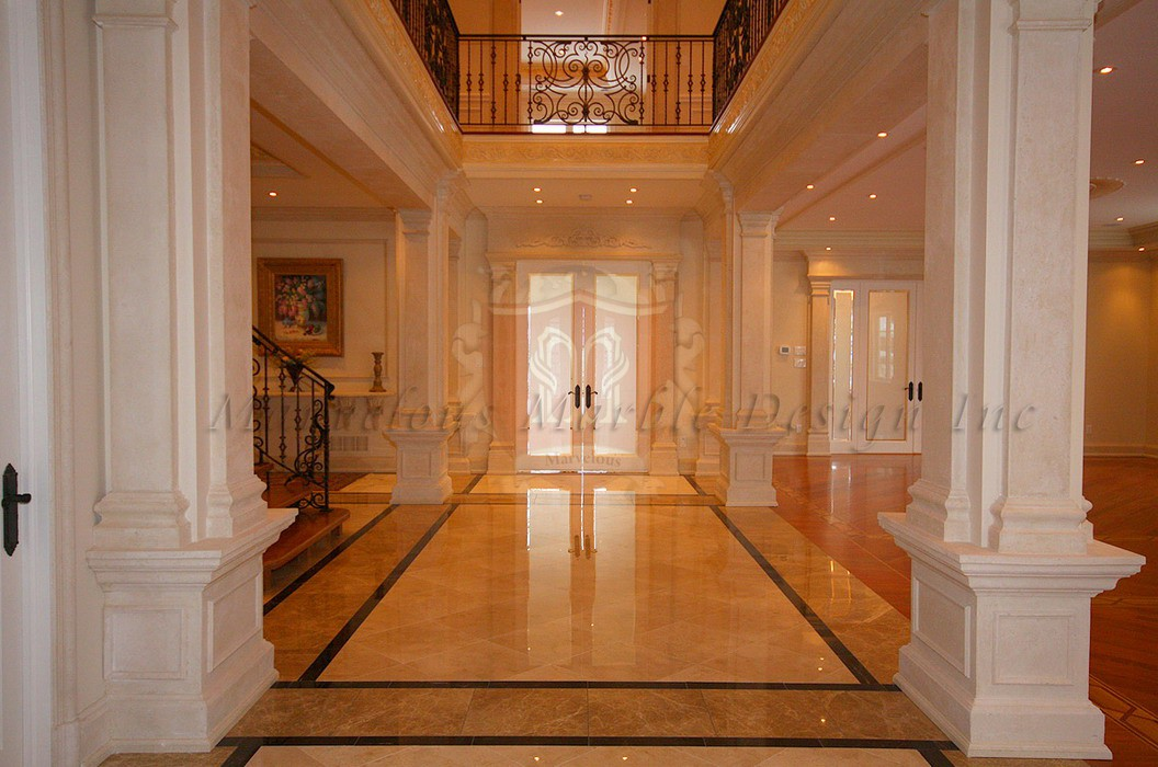 Limestone Pilaster In Luxury Living Room New York Toronto