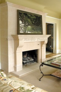 Limestone Custom Fireplace Mantel