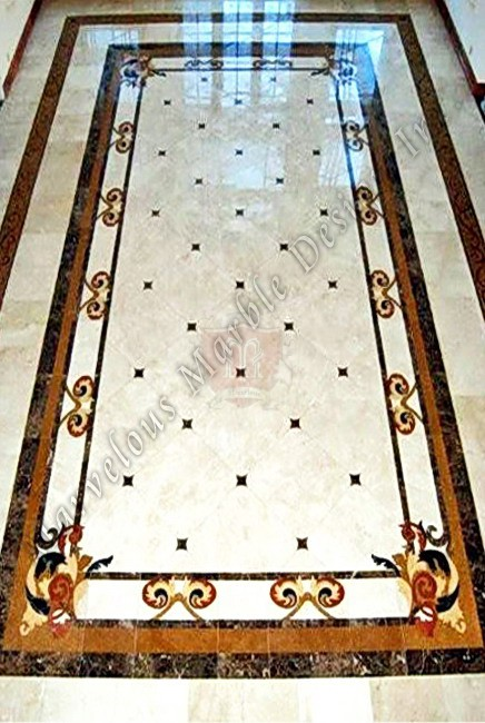 Stone And Tile Works : Marble medallions floor borders flooring