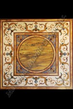 water jet cut marble floor medallion