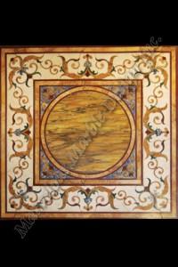 water jet cut marble floor medallion
