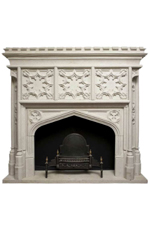 Antique 313 Custom Carved Travertine Fireplace mantel