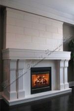 modern limestone fireplace surround