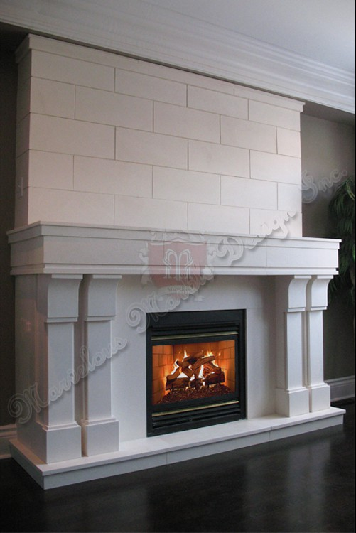 Modern Limestone Fireplace surround in NY