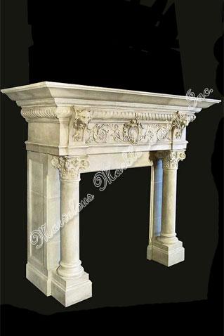 hand carved italian limestone fireplace mantel