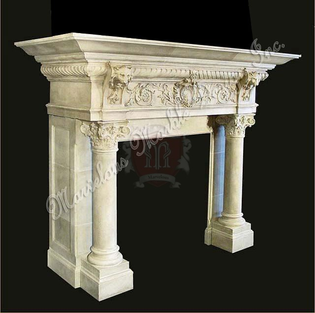 antique 315 hand carved italian limestone fireplace mantel