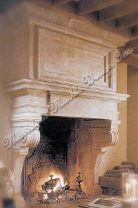 French Limestone Fireplace Mantle