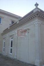 White Limestone Building Facade