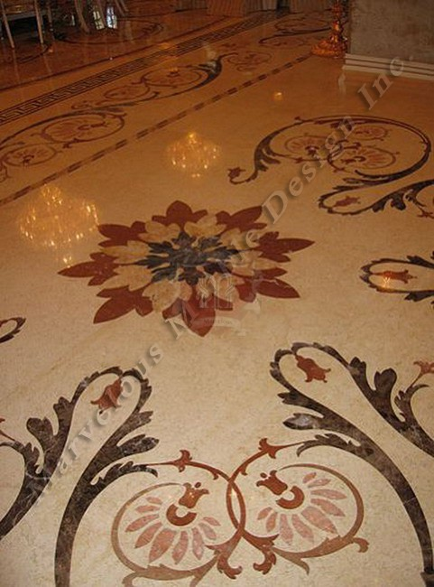 Water jet cut marble flooring marble slabs flooring designs for Classic floor designs