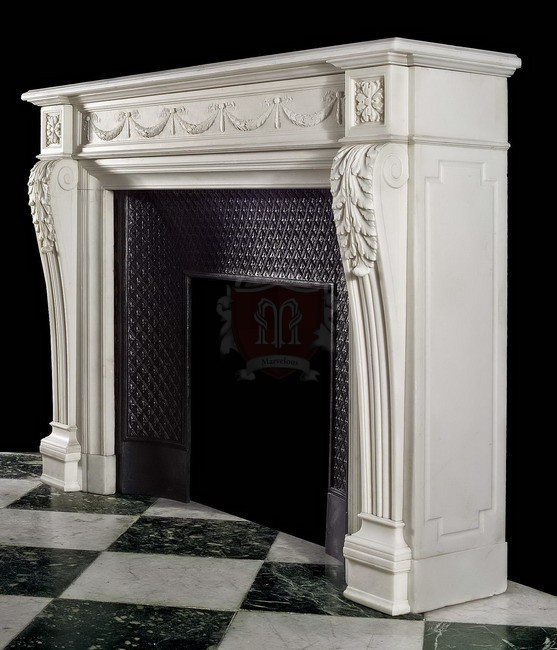 A finely carved 18th century Louis XVI marble french fireplace mantel in Antique French Marble is the key feature to your new home.