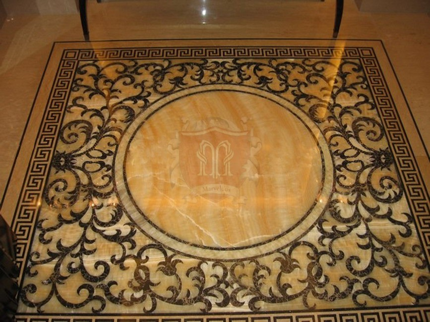 Marble medallions marble floor borders marble flooring for Classic floor designs