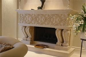 GRANDEUR Limestone Fireplace Mantel Design