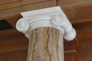 Spanish Cream Marfil Doric Marble Column in Bathroom