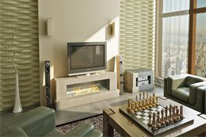RAZO Cast Limestone Modern Cando Fireplace