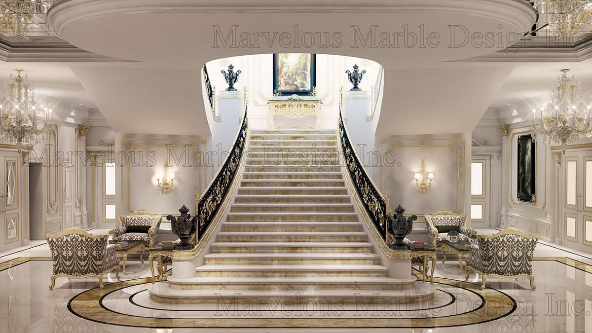 Marble Stairs on modern mansion interior