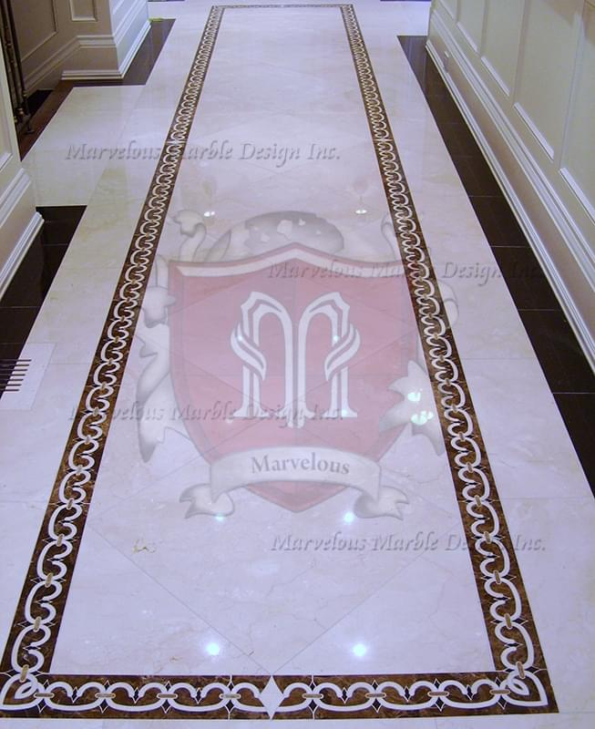 Marble medallions marble floor borders marble flooring for Floor tiles border design