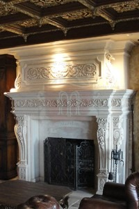 Custom french limestone mantel