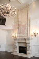 Limestone Travertine Mantel with Overmantel