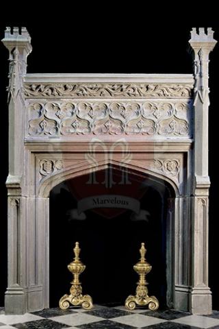 Gothic Limestone Fireplace Mantel