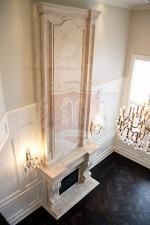 Limestone Travertine Mantel with Overmantel