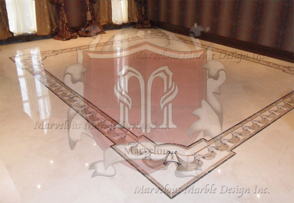 Marble medallions marble floor borders marble flooring for White marble floor designs