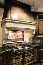 Custom Stone Hood with Copper Canopy