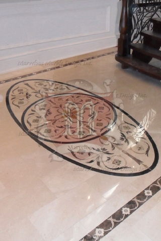 Oval Marble Floor Medallion