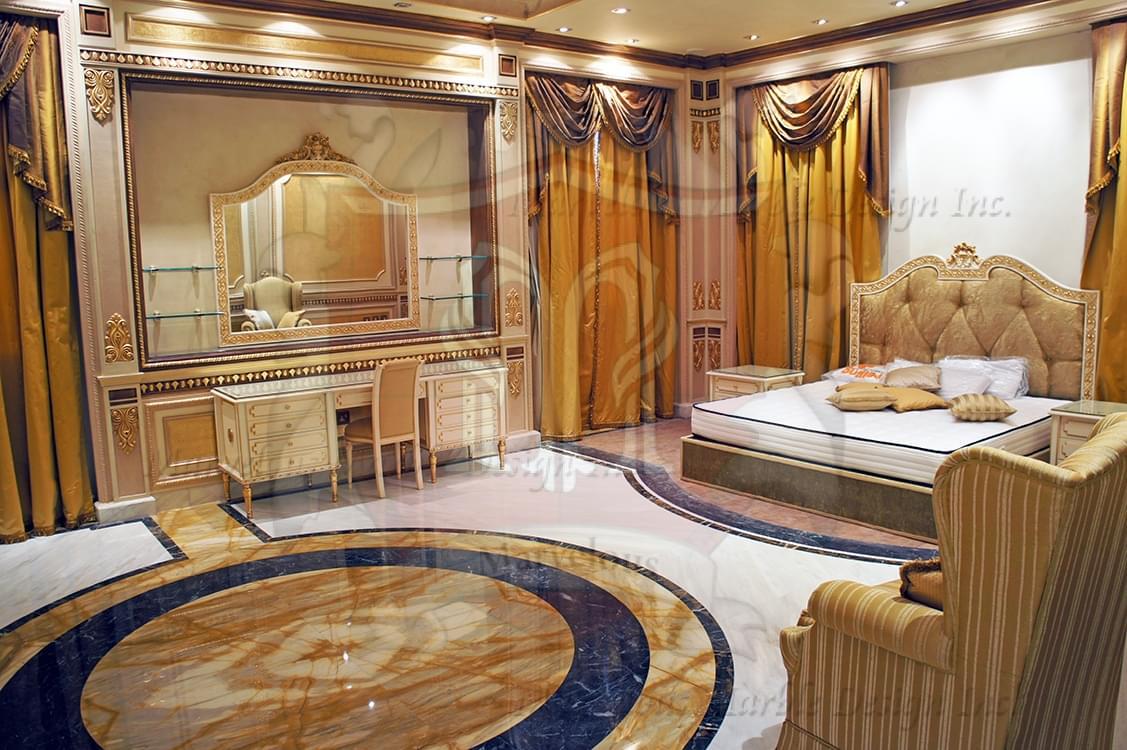 G14767 Water Jet Art Works  Marble Floor Design in Bedroom. Marble Medallions   Marble Floor Borders   Marble Flooring