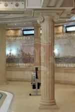 Italian Limestone Columns with Ionic Capital