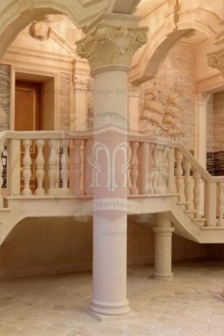 Italian Marble Columns with Corinthian Capital