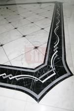 Custom Black and White Marble Border in Kitchen